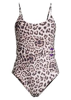 Mikoh Swimwear Mila Leopard Print Belted One-Piece