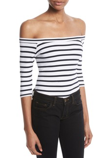 Milly 3/4-Sleeve Striped Off-the-Shoulder Bodysuit
