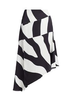 Milly Abstract Zebra Print Asymmetrical Skirt