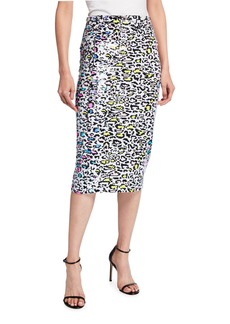Milly Adley Leopard Sequin Pencil Skirt