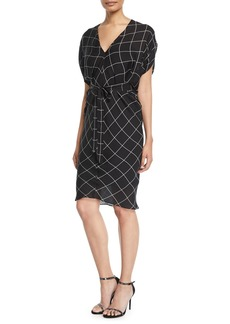 Milly Aimee Check Bias Sheath Dress