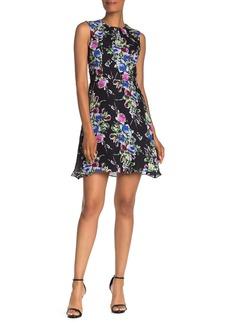 Milly Anna Rose Print Sleeveless Silk Dress
