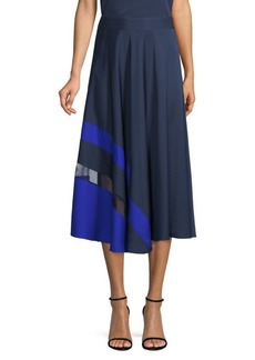 Milly Asymmetric Stripe A-Line Midi Skirt