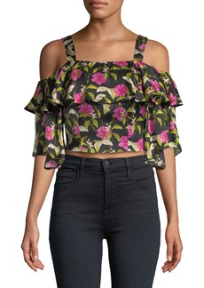 Milly Audrey Floral-Print Ruffled Top