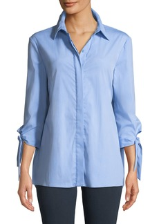 Milly Avery Tie-Sleeve Back-Tie Shirt