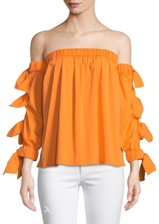 Milly Blythe Off-The-Shoulder Tie-Sleeve Blouse