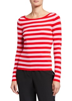 Milly Boat-Neck Striped Long-Sleeve Top