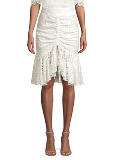 Milly Brittany Gathered Floral Lace Skirt