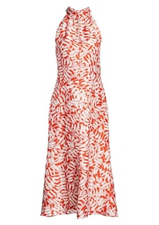 Milly Brushstroke Print Halter Midi Dress