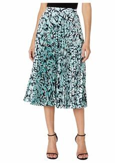 Milly Brushstroke Print on Twill Pleated Skirt
