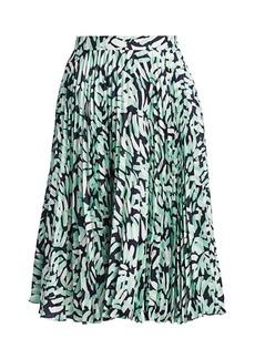 Milly Brushstroke Print Pleated Skirt