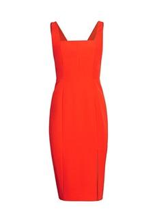 Milly Cady Rita Square-Neck Slit Dress