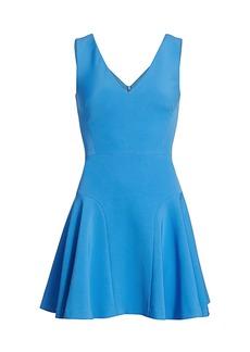 Milly Cady V-Neck Flared Mini Dress