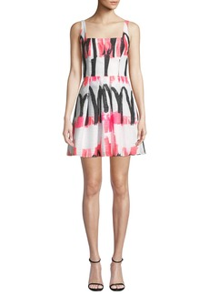 Milly Camila Modern Scribble-Print Fit-&-Flare Dress