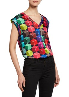 Milly Carmen Geometric-Print V-Neck Cap-Sleeve Top