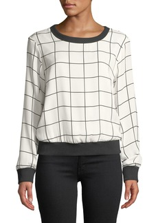 Milly Check-Print Silk Georgette Sweatshirt