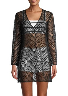Milly Chevron Long-Sleeve Coverup