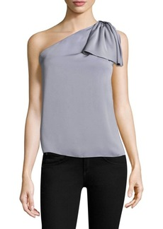 Milly Cindy One-Shoulder Silk-Blend Top