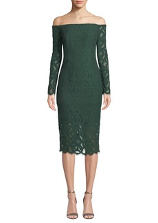 Milly Coco Off-the-Shoulder Italian Lace Dress