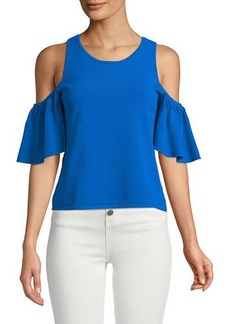 Milly Cold-Shoulder Flutter-Sleeve Blouse