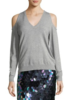 Milly Cold-Shoulder Heathered Sweater