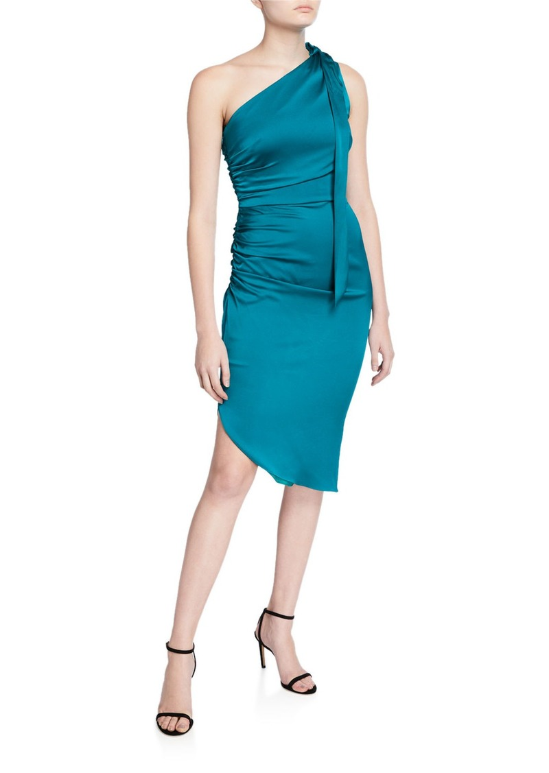 Milly Coleen One-Shoulder Tie-Neck Sleeveless Stretch Silk Dress