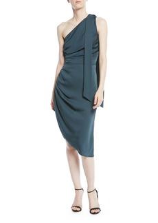 Milly Coleen Stretch-Silk One-Shoulder Dress