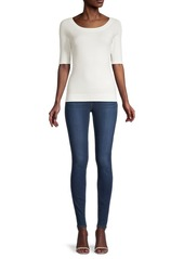 Milly Compact-Knit Boatneck Top