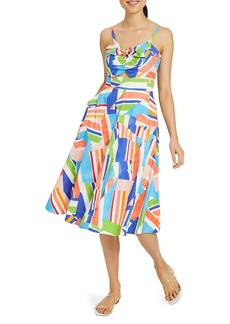 Milly Corinna Nautical Print Poplin A-Line Dress