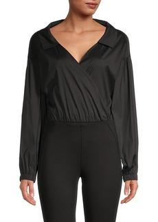 Milly Cotton-Blend Wrap Top Bodysuit