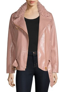Milly Crinkle Faux Shearling & Faux Leather Jacket