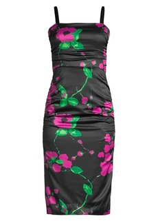 Milly Dayna Floral On Satin Sheath Dress