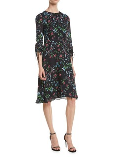 Milly Diana Crewneck Ruched-Sleeve Wildflower-Print Silk A-Line Dress