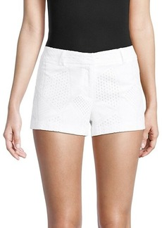 Milly Dickies Embroidered Eyelet Cotton Shorts