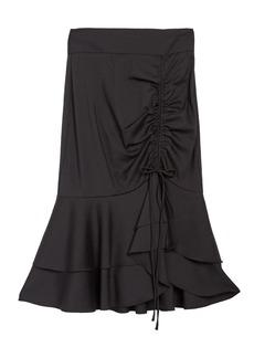Milly Drawstring Ruched Ruffle Hem Wool Blend Skirt