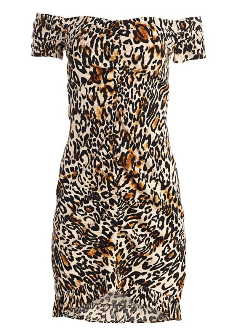 Milly Ella Leopard Print Ruched Bodycon Dress