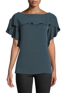 Milly Elle Ruffle-Trim Silk-Blend Top