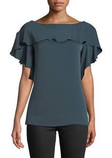Milly Elle Ruffle-Trim Silk-Blend Top