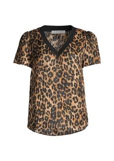 Milly Elma Leopard-Print Short-Sleeve Top