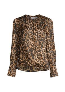 Milly Elysa Leopard-Print Draped Blouse