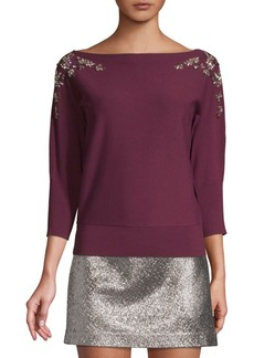 Milly Embellished Boatneck Sweater