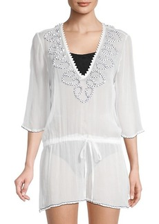 Milly Embroidered Silk Coverup