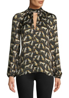 Milly Emmie Long-Sleeve Cheetah-Print Silk Top