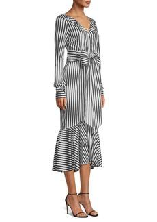 Milly Erica Striped Ruffle-Hem Midi Dress