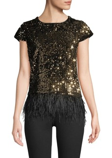 Milly Feather Hem Sequined Tee
