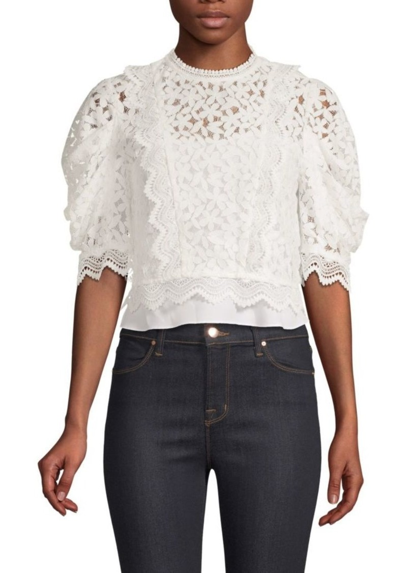 36f36a84f274c4 Milly Felicity Floral Lace Puff-Sleeve Top