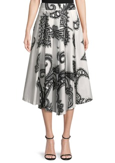 Milly Fiona Lace-Print Cotton A-Line Skirt