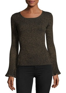 Milly Flare-Sleeve Ribbed Metallic Sweater