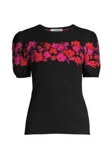 Milly Floral Shoulder Knit Sweater