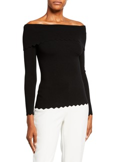 Milly Foldover Off-the-Shoulder Long-Sleeve Scallop Top
